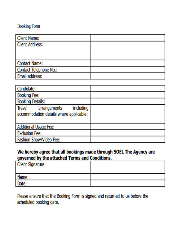 Booking Confirmation Forms  Free Sample Example Format Download