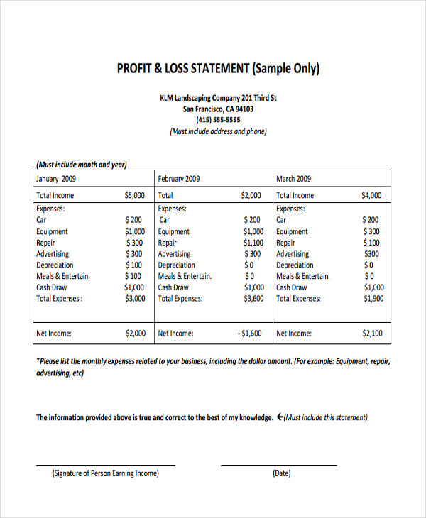 Profit And Loss Statement Form Samples  Free Sample Example