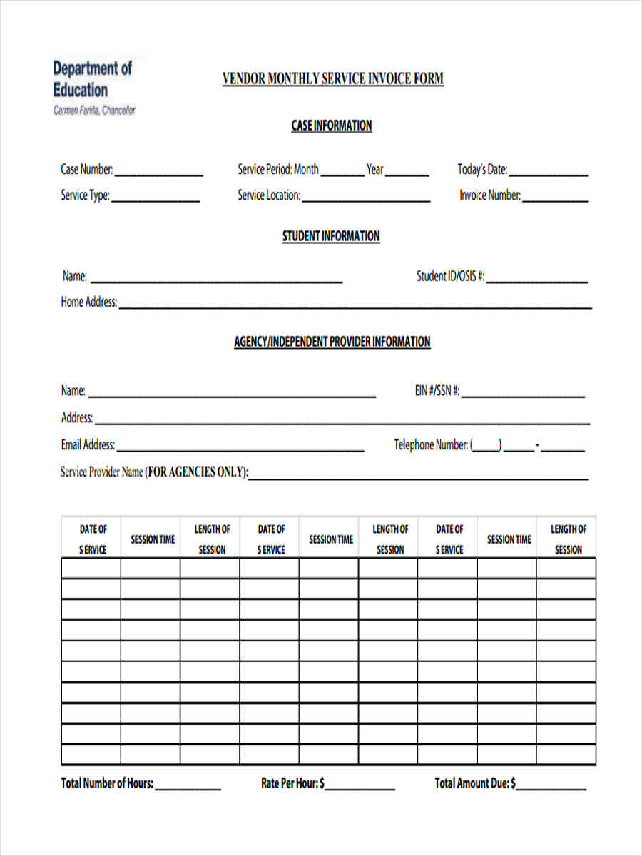monthly service invoice