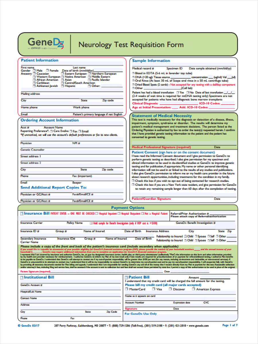 6  lab requisition form samples