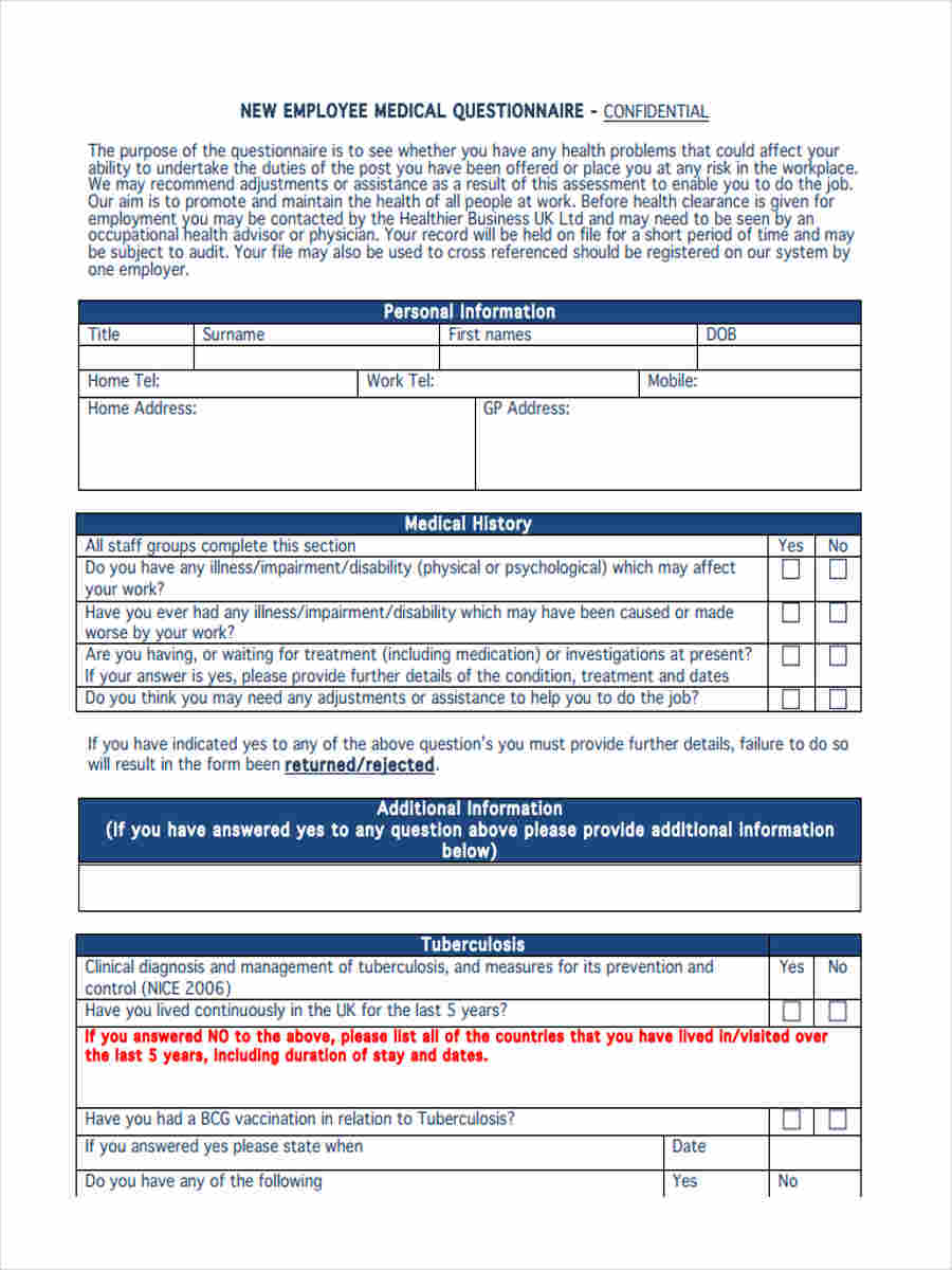 new employee questionaire  6  Medical Questionnaire Form Sample - Free Sample, Example Format ...