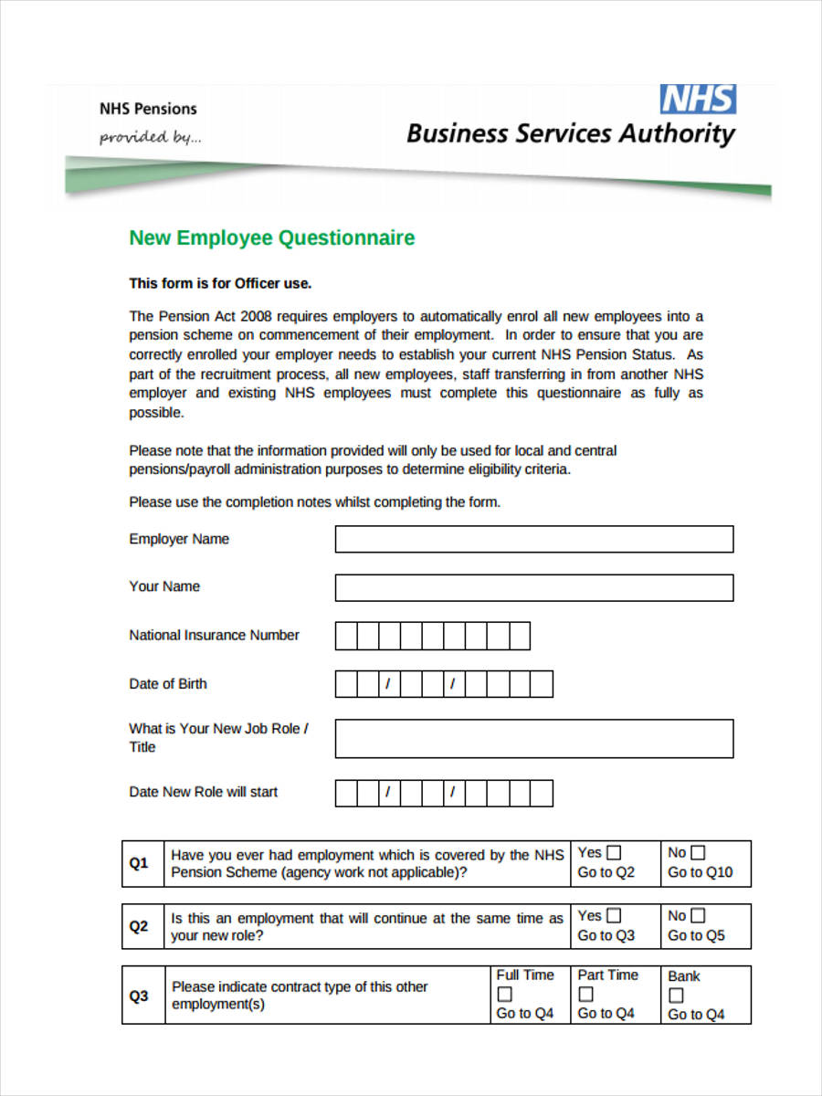 New-Employee-Questionnaire Job Application Format Download on
