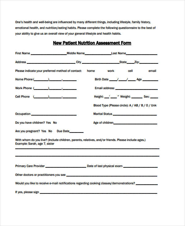 10 Nutrition Assessment Form Samples Free Sample Example Format