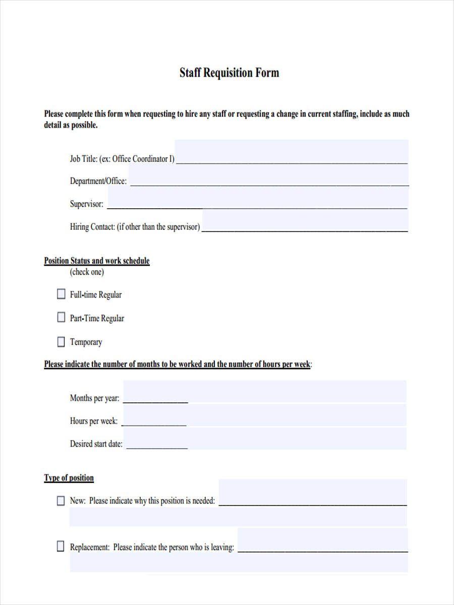 Attractive New Staff Requisition Form