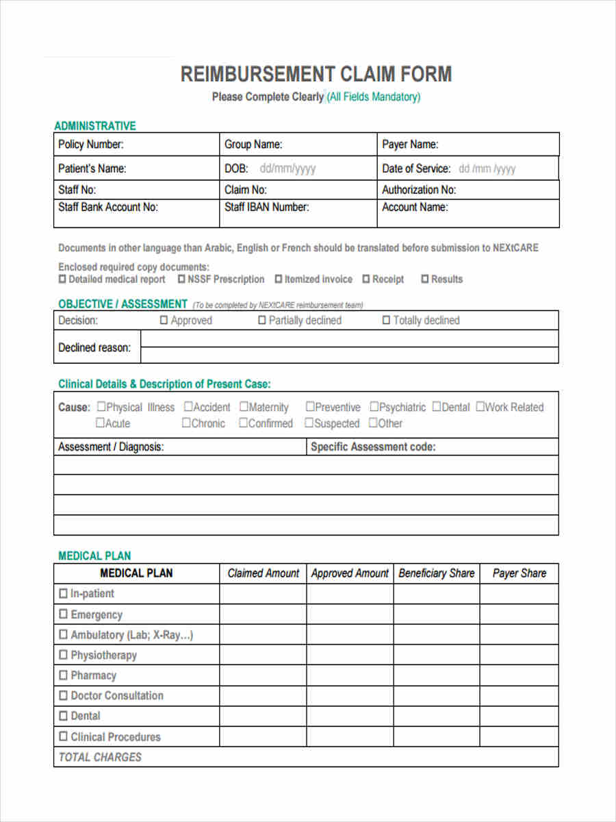 FREE 6+ NEXtCARE Reimbursement Forms in PDF