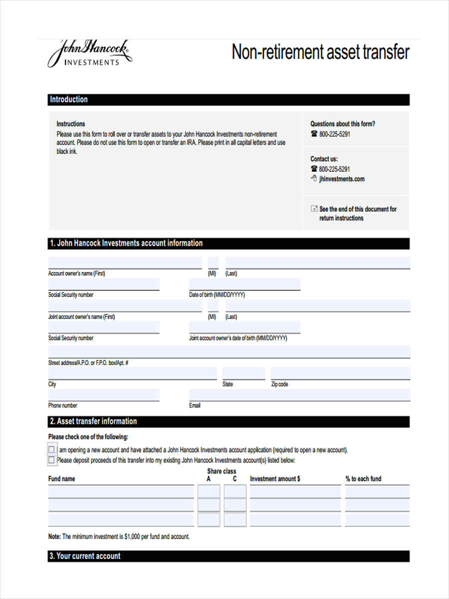 7  asset transfer form sample