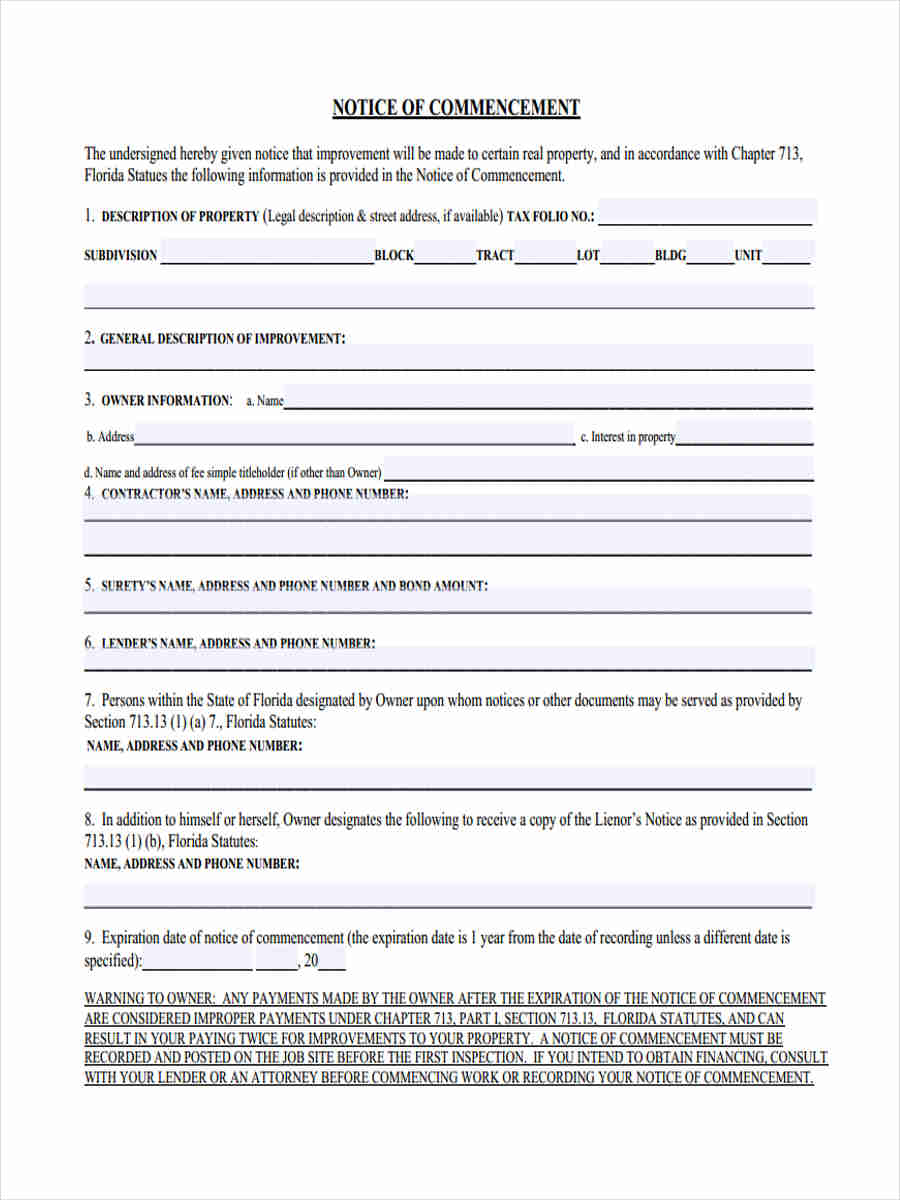 sample notice of commencement 6 Notice of Commencement Form Sample - Free Sample, Example Format ...