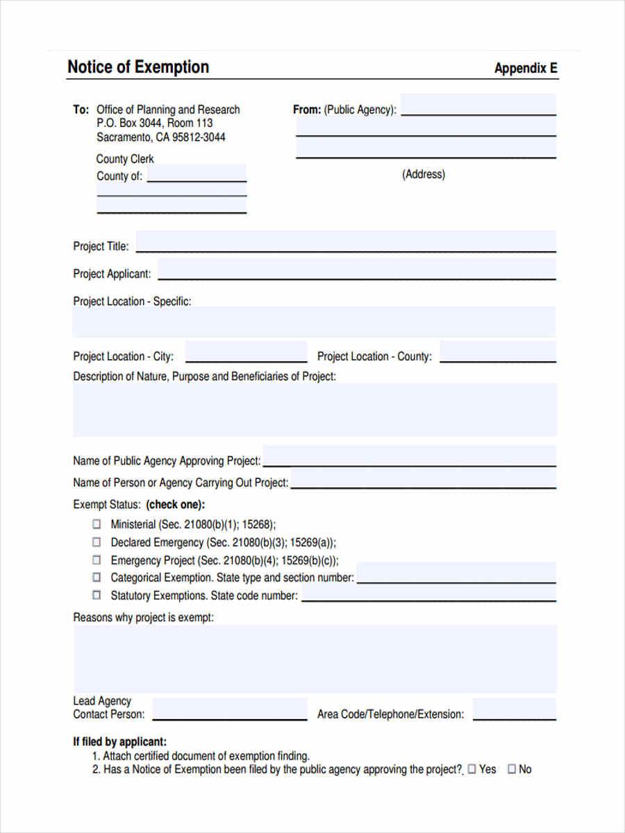 notice of exemption in pdf