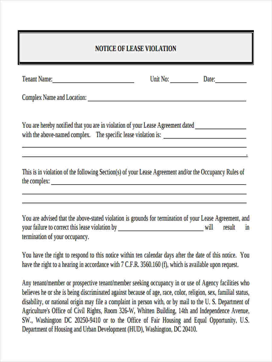 notice of lease violation form