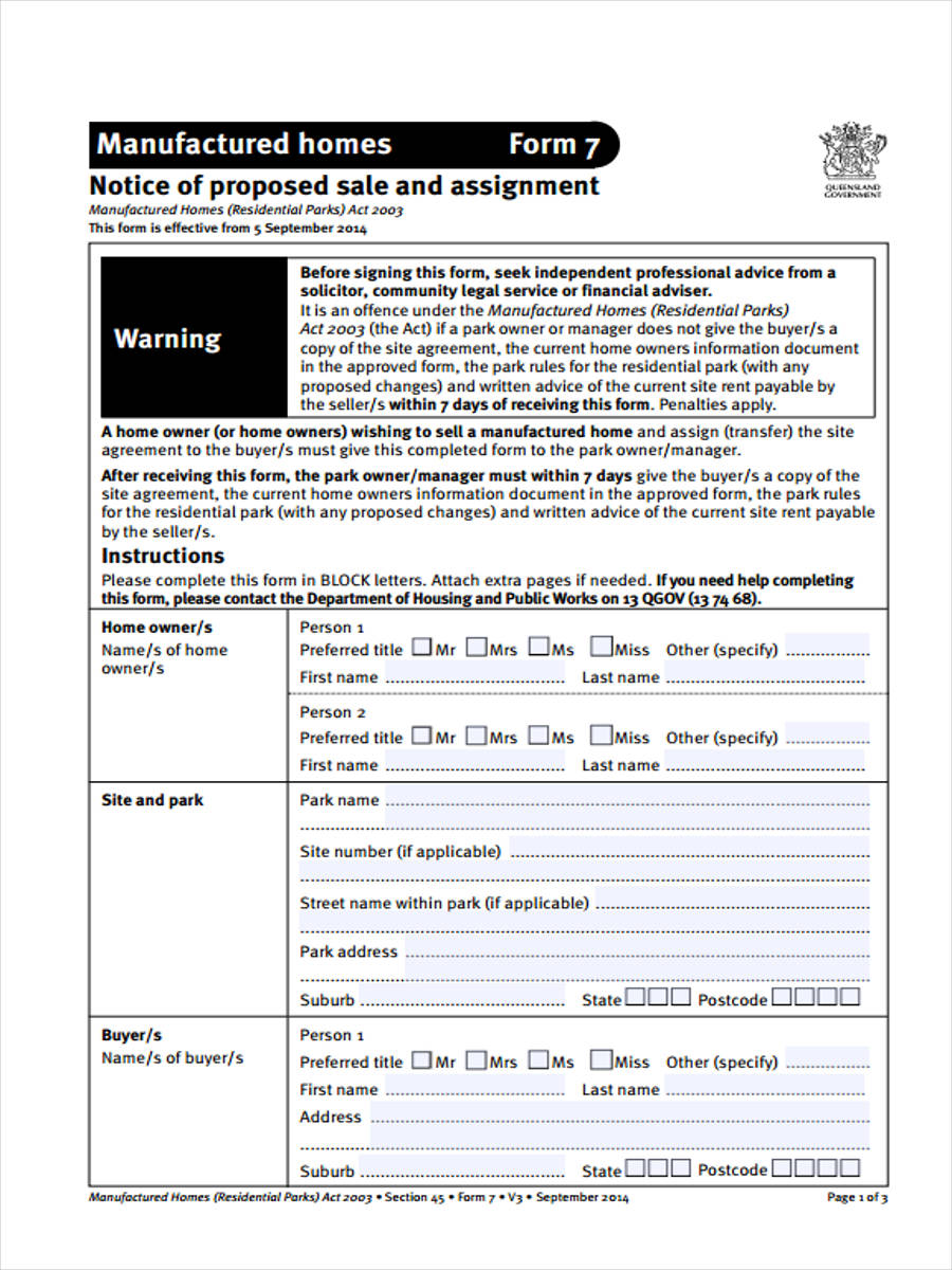 free 7  notice of sale forms in samples  examples  formats