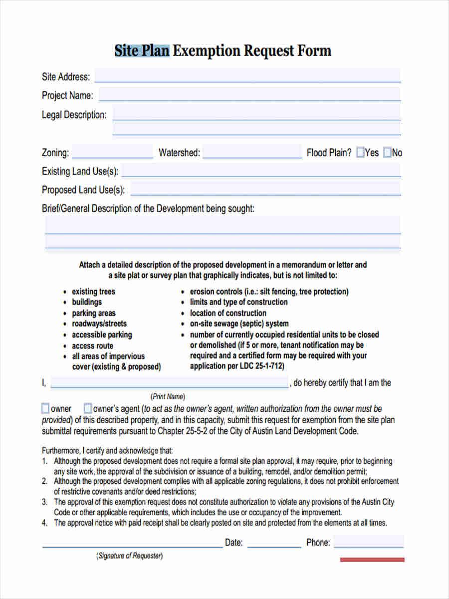 notice of site plan exemption request