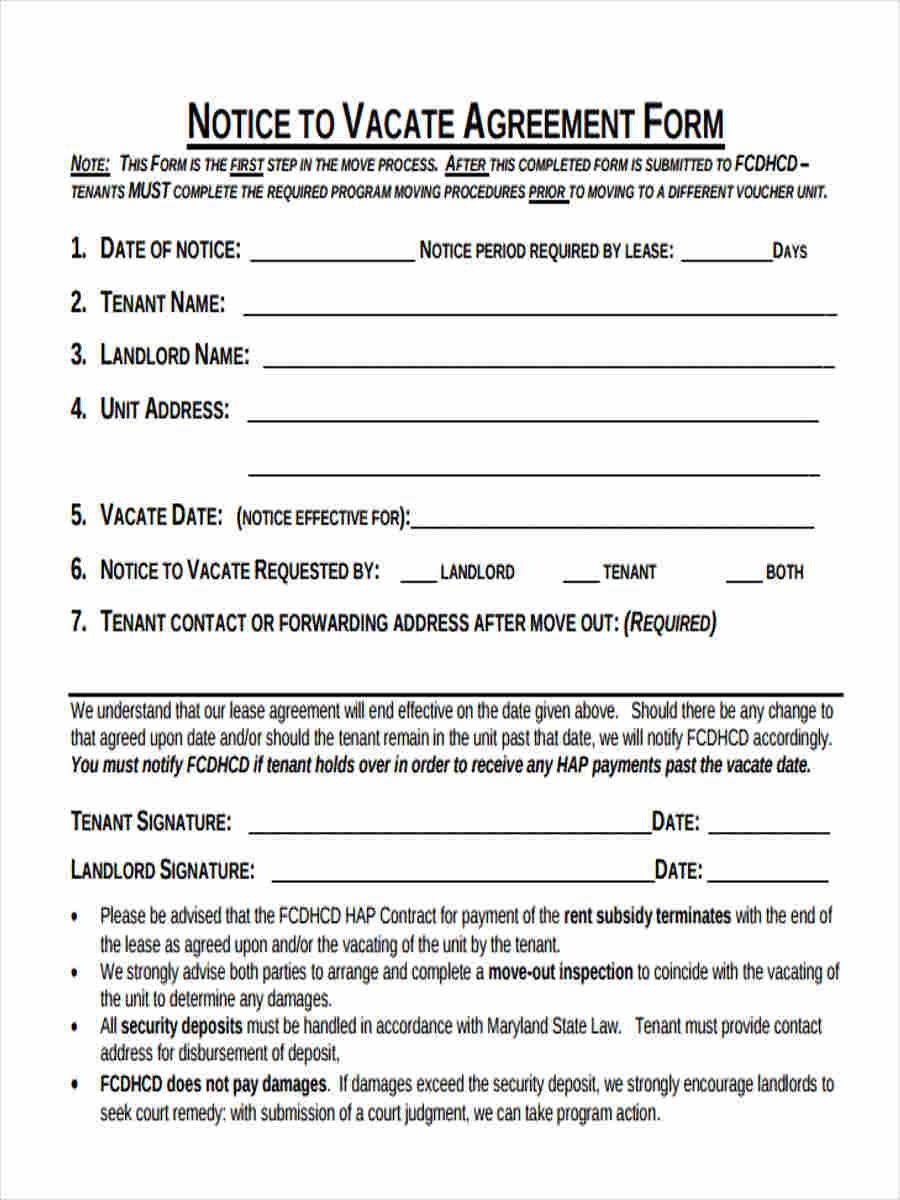 7+ Notice to Vacate Forms - Free Sample, Example Format Download