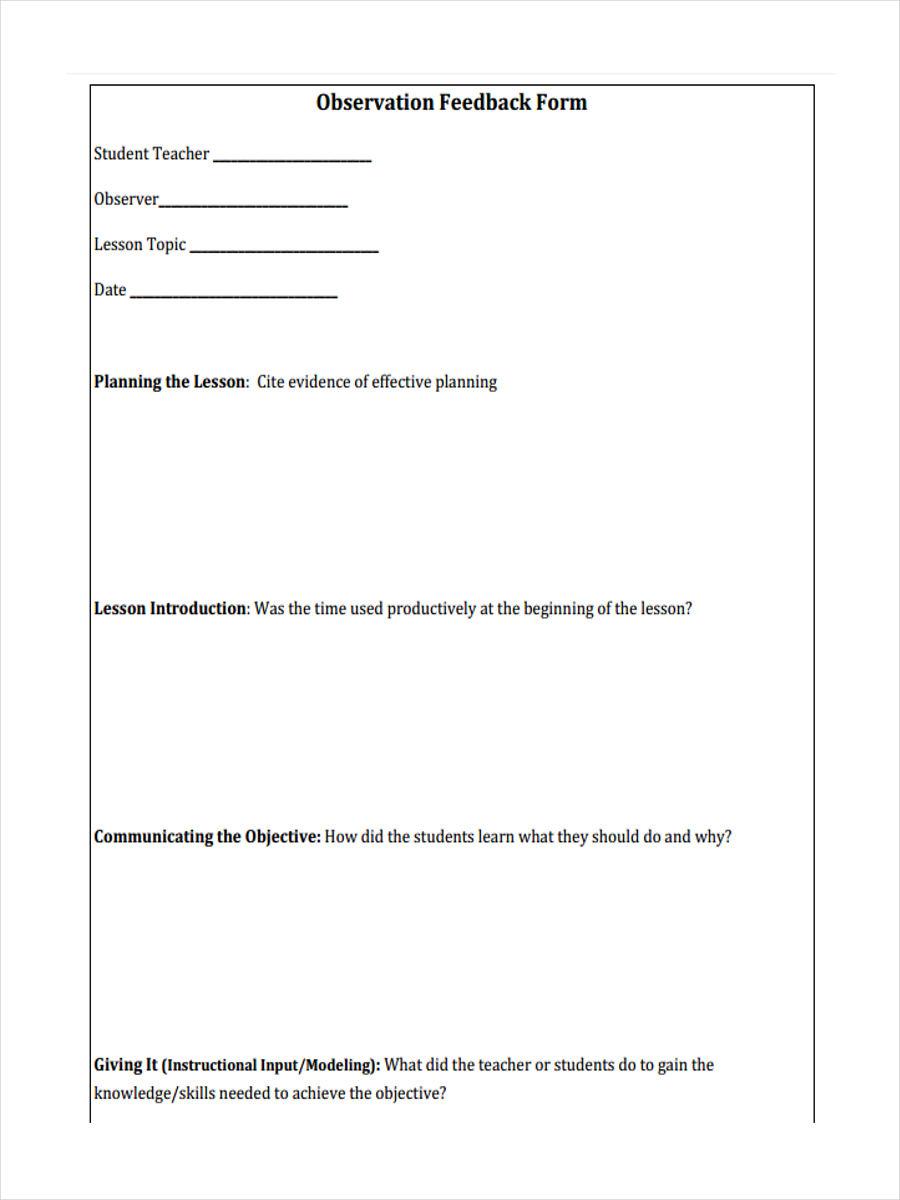 observation feedback form