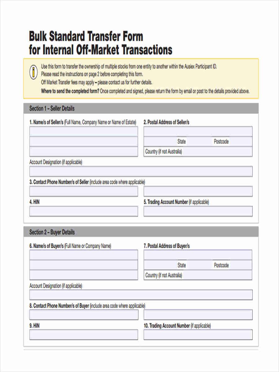 off market standard transfer