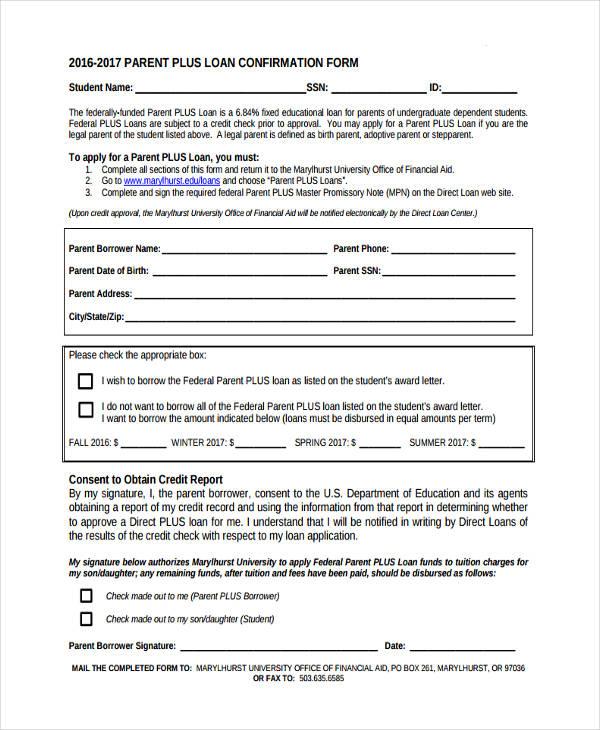 parent loan confirmation