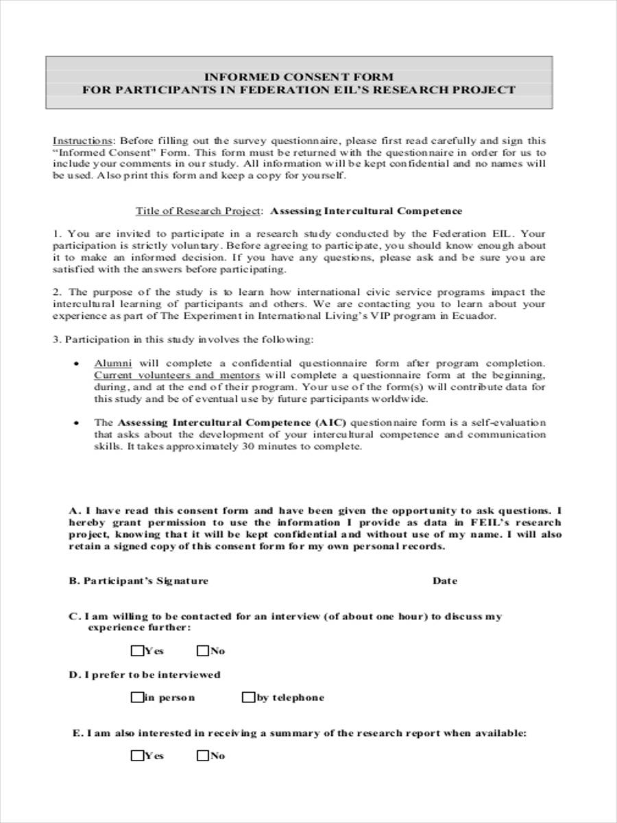 Institutional Review Board - Consent Form (Sample)