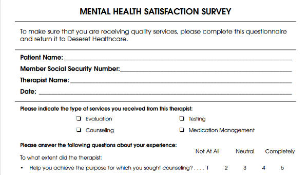 6 patient satisfaction questionnaire form sample free sample