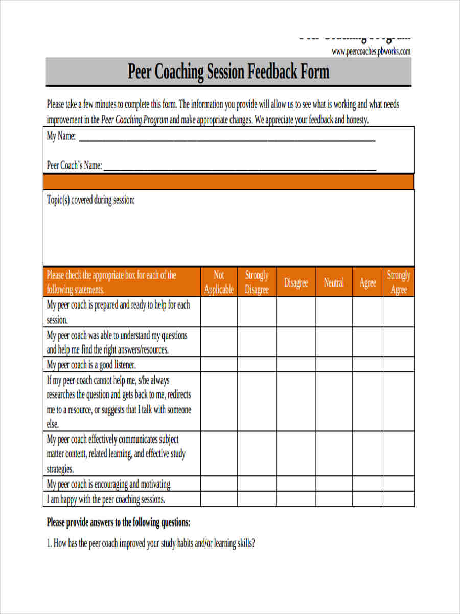 peer coaching feedback