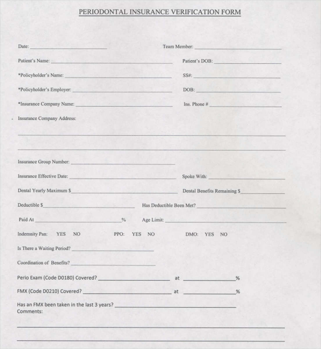 Electronic Signature Free >> FREE 6+ Dental Insurance Verification Forms in Samples, Examples, Formats