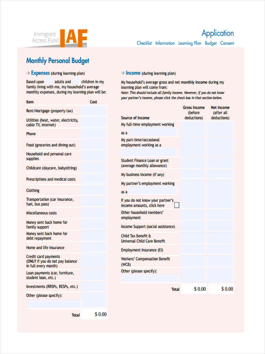 9 Personal Budget Forms Free Sample Example Format