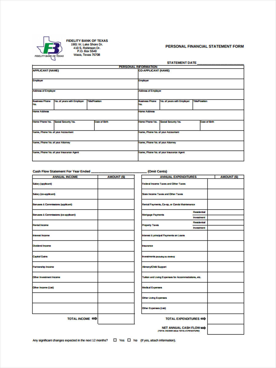 6 Personal Financial Statement Form Sample Free Sample Example – Sample Personal Financial Statement