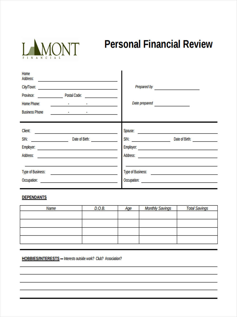 Personal-Financial1 Examples Of Performance Review Forms on strengths weaknesses, self evaluation for, growth opportunities, customer service, negative employee,
