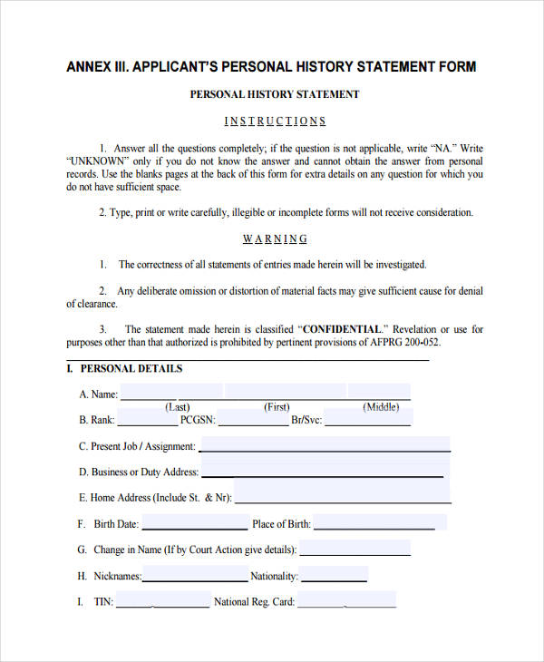 Personal Statement Forms  Free Sample Example Format Download