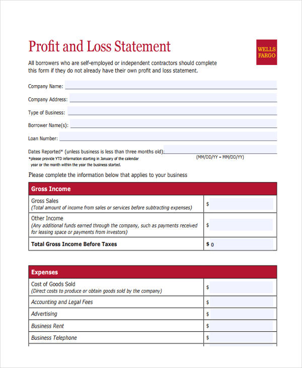 6 Personal Statement Forms Free Sample Example Format Download – Personal Profit and Loss Statement