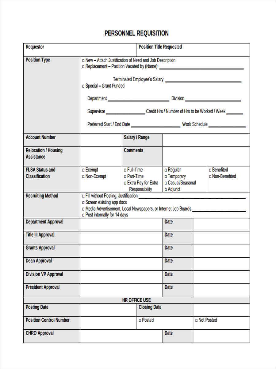 personnel recruitment requisition