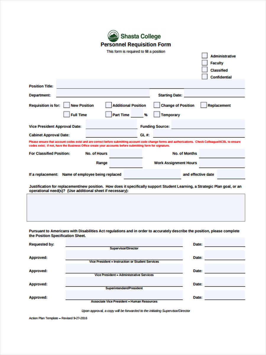 personnel requisition template
