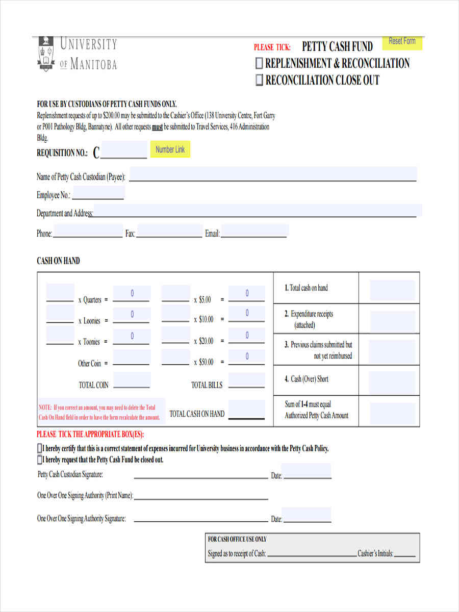 Free 9 Petty Cash Reimbursement Forms In Samples