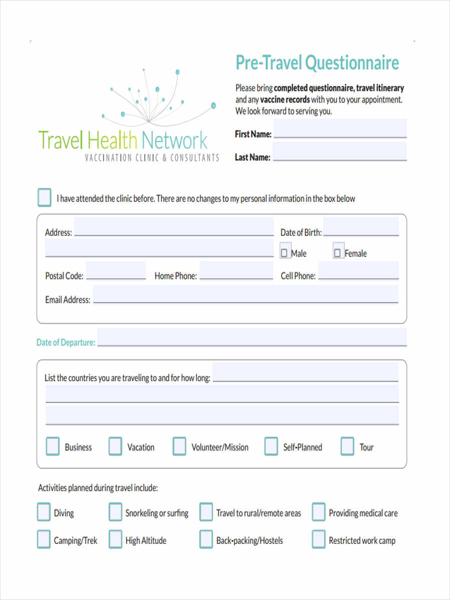 Free 7 Travel Questionnaire Forms Pdf