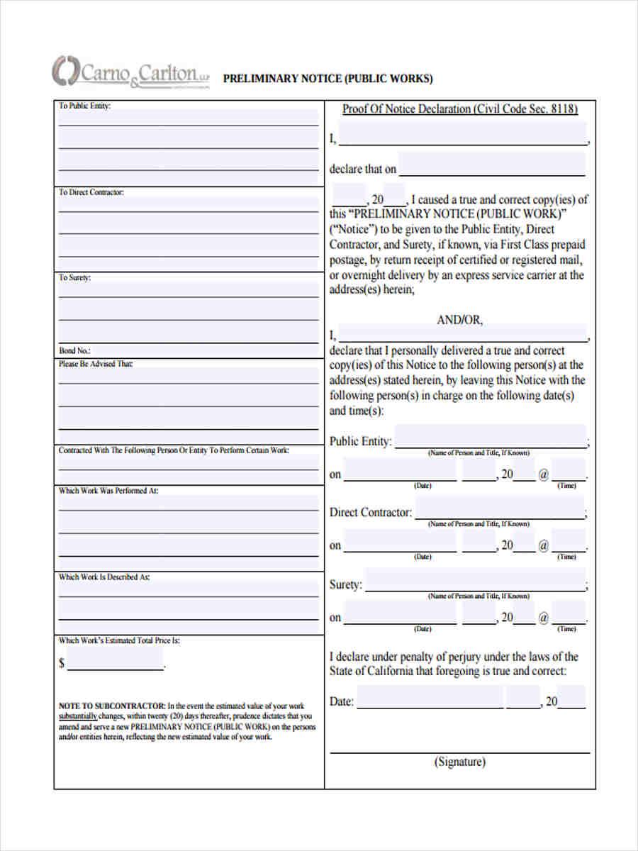 preliminary notice service
