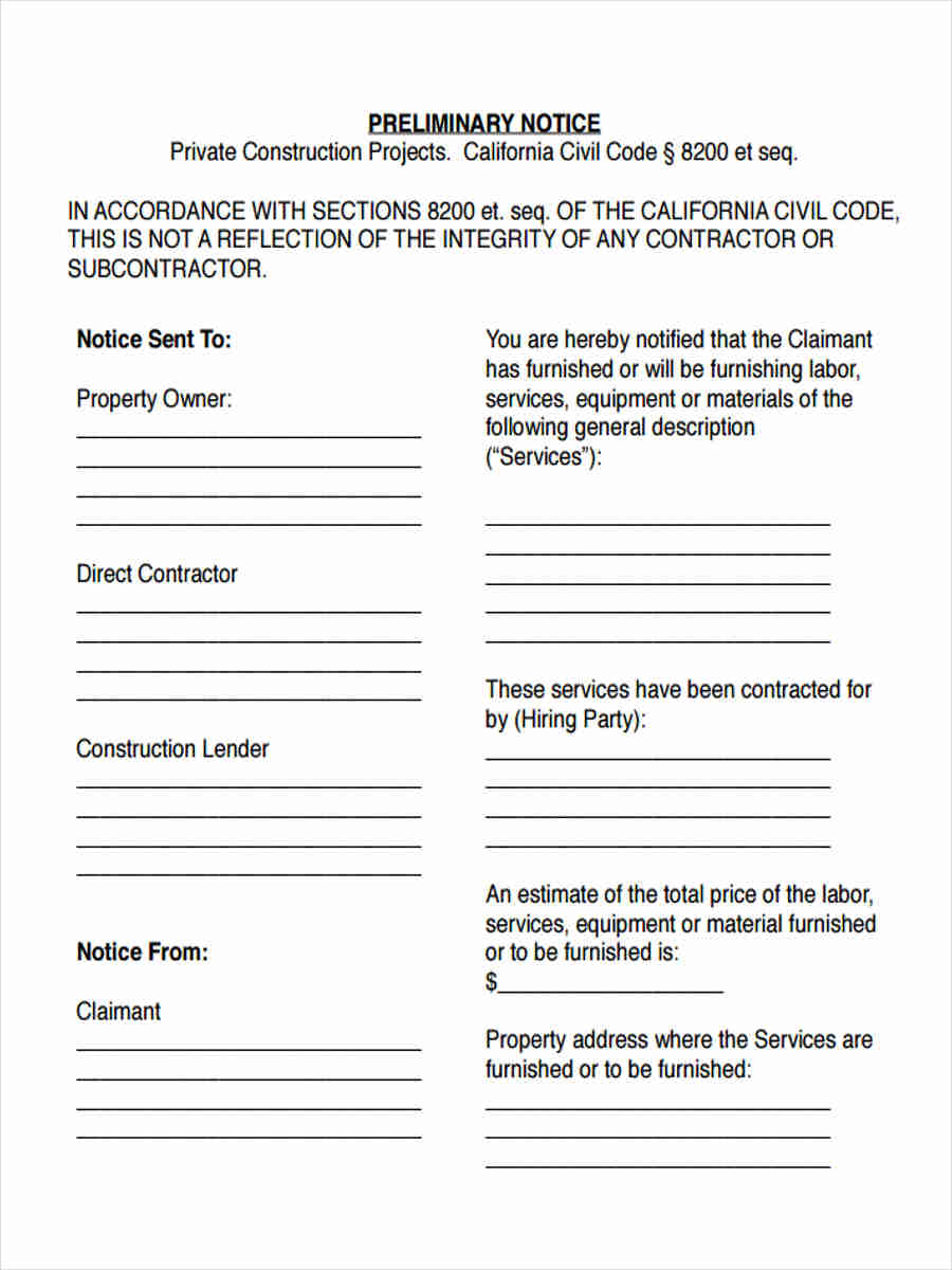 7 Preliminary Notice Form Samples Free Sample Example