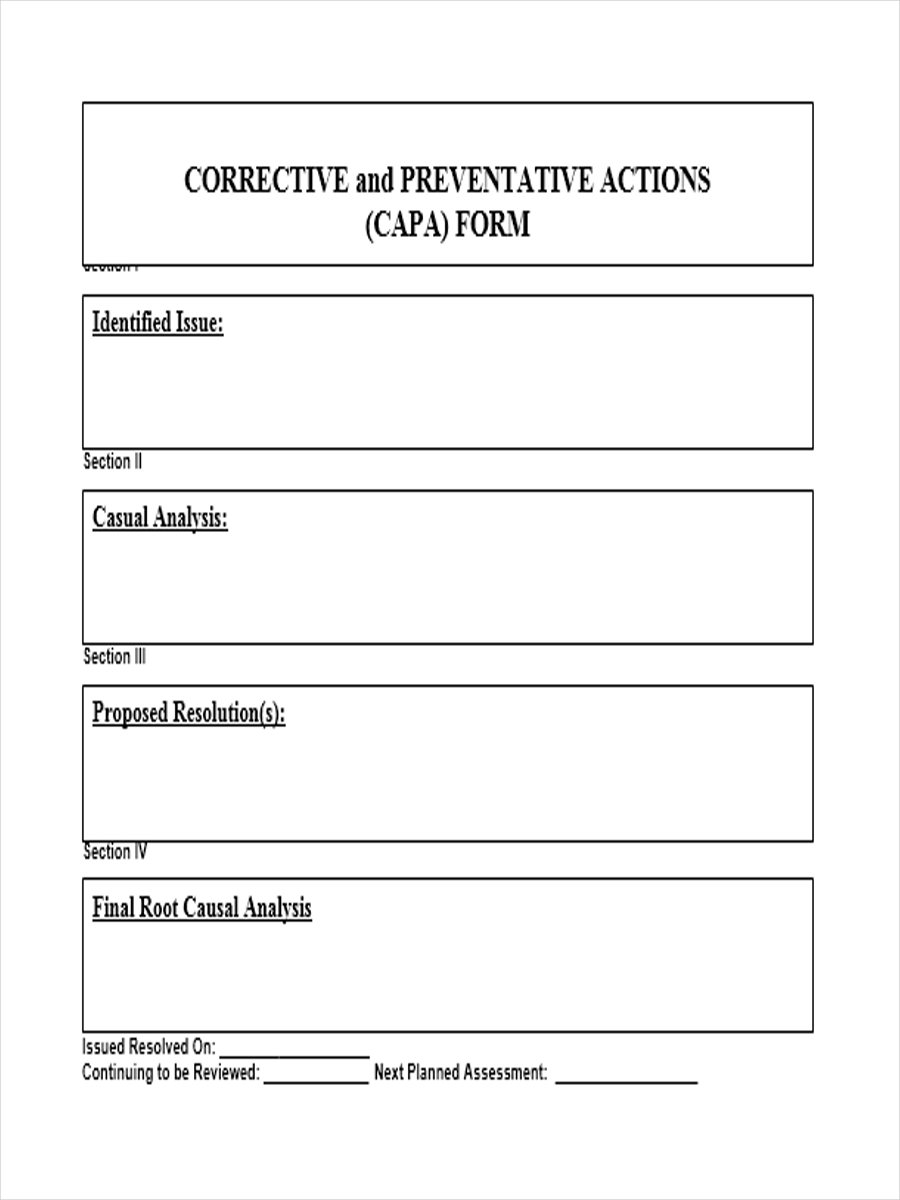 preventive action plan template - preventive action form 6 free documents in word pdf