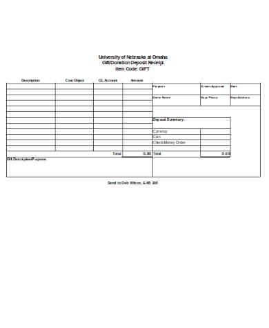 printable donation deposit receipt