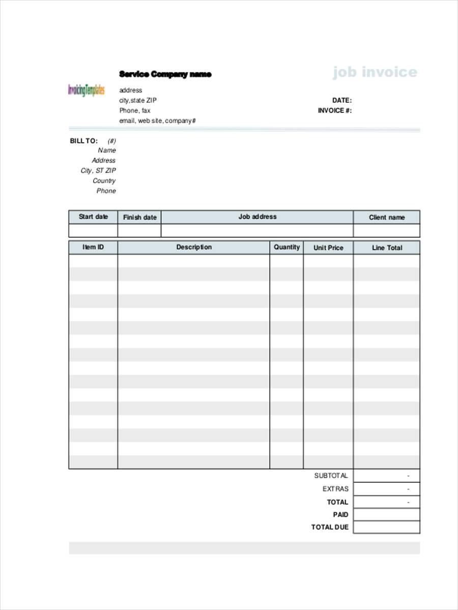 5  job invoice forms