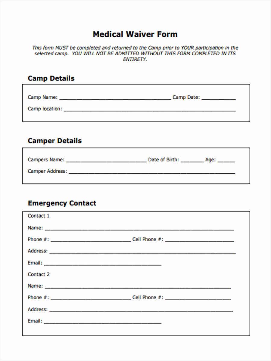 printable medical waiver