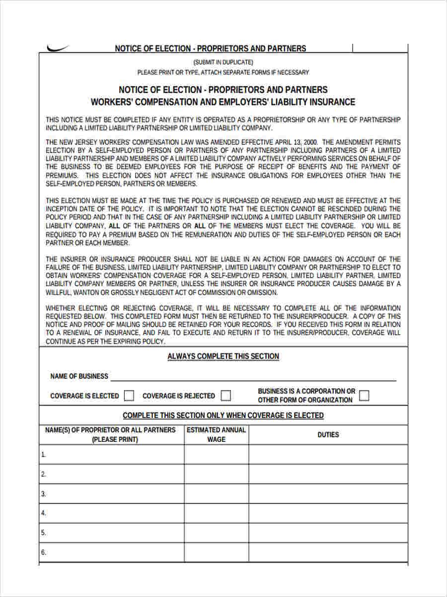 printable notice of election form