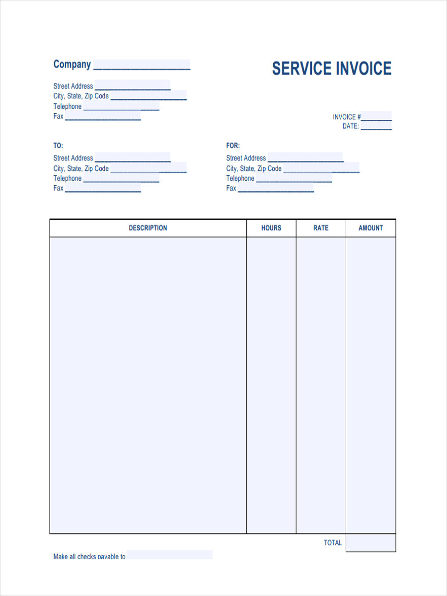 free 7  printable invoice form samples in sample  example  format