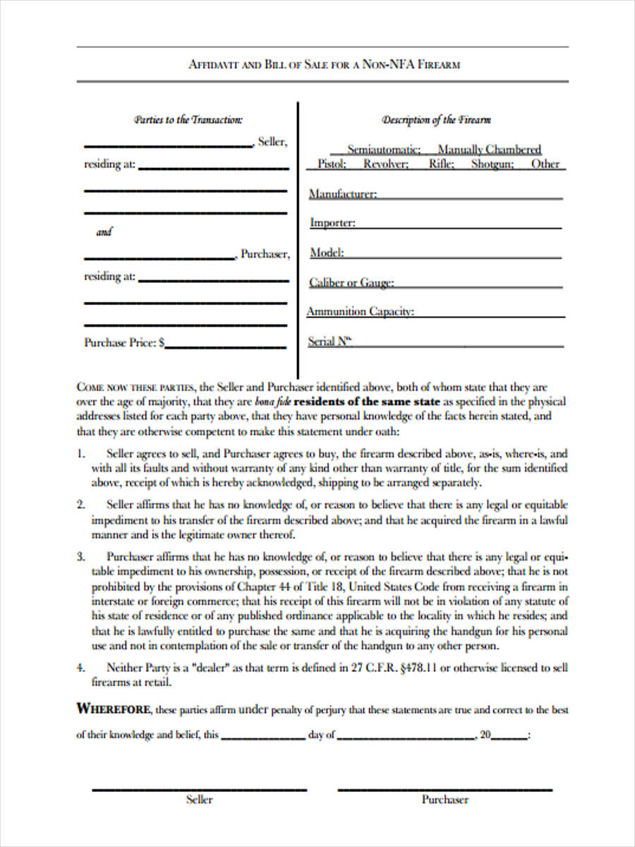 private party firearm form