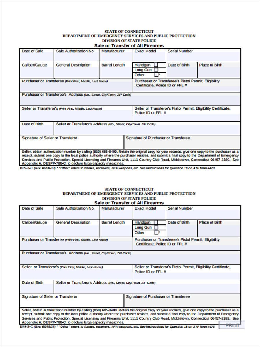 6  firearm bill of sale form sample