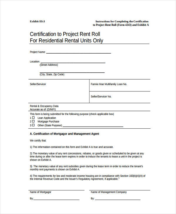 project rent roll