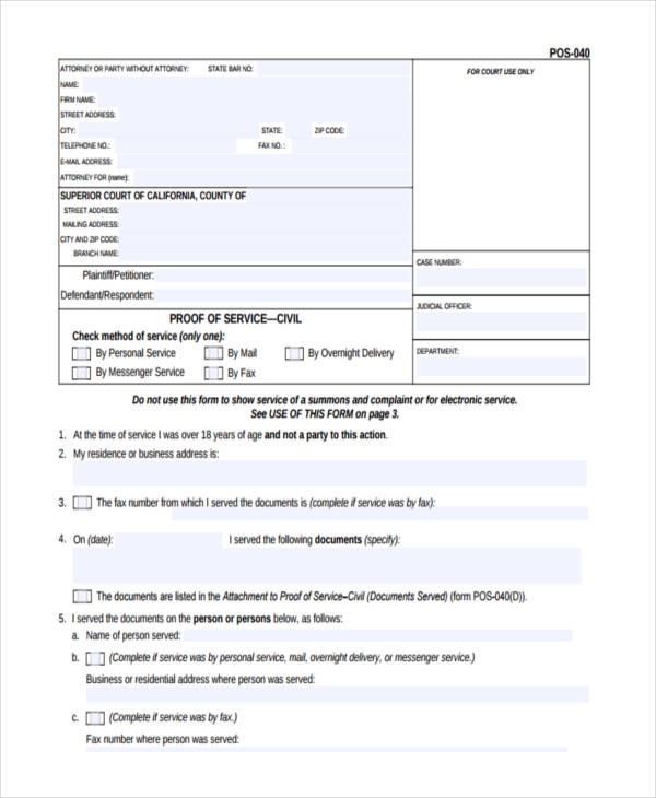 proof of service form