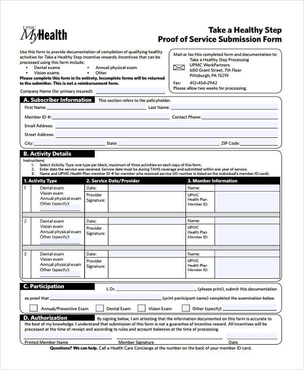 proof of service submission