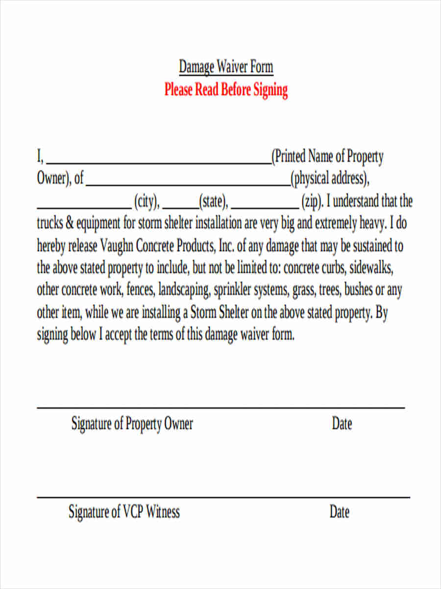 property damage waiver template vehicle damage waiver form pictures to pin on pinterest