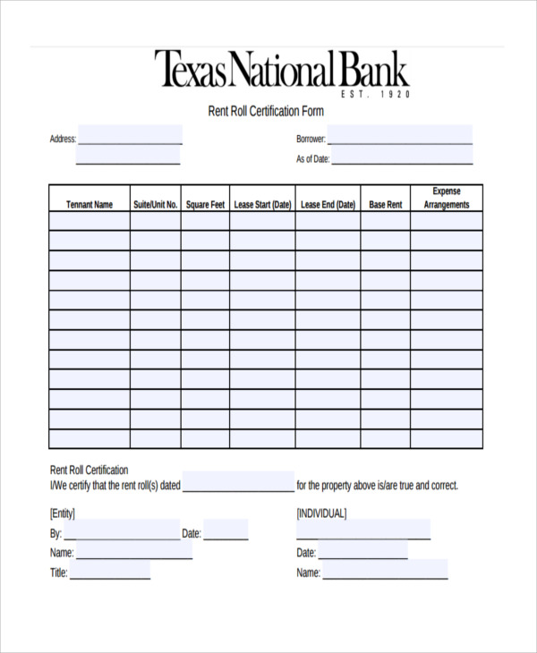 Free Rent Roll Forms