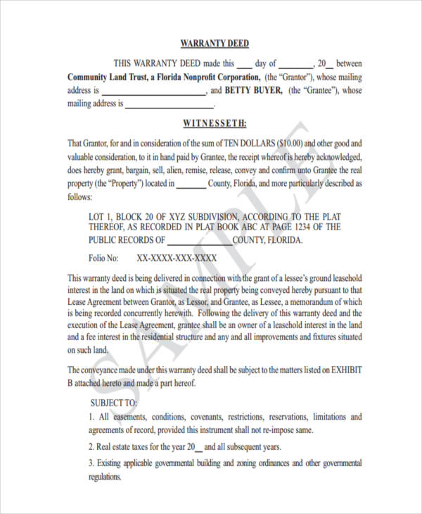 23+ Deed Forms in PDF