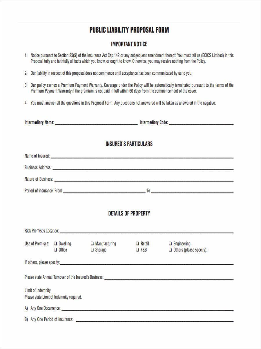 public liability forms