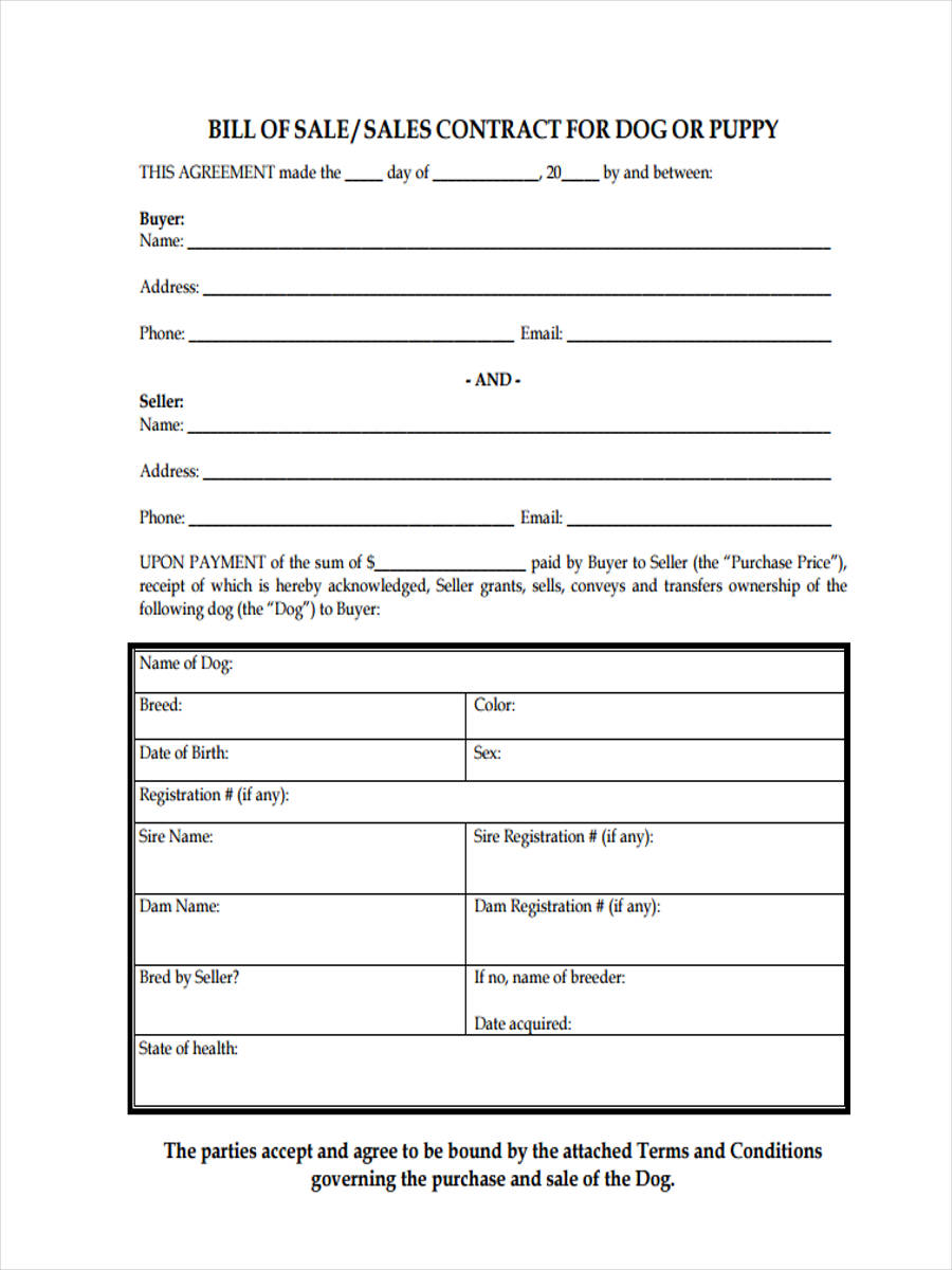 Dog Bill of Sale Form - 5+ Free Documents in PDF